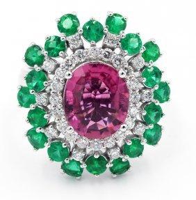 Oval Cut Pink Tourmaline Diamond Engagement Ring
