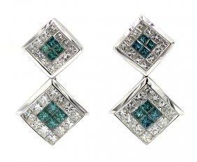Princess Cut Drop Dangle Square Diamond Earrings