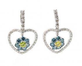 Round Cut Diamond Drop Dangle Heart Shape Earrings