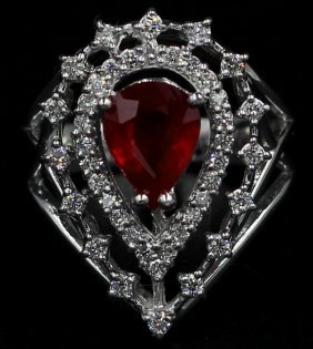 2.94 Ct. Pear Cut Womans Ruby Anniversary Diamond Ring
