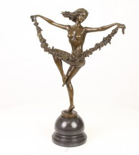 Beautifull Bronze Sculpture Of A Woman Dancing With