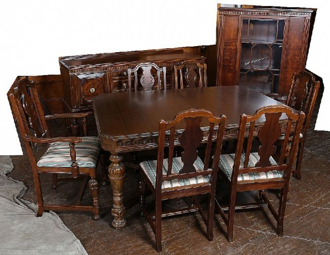57 9 piece jacobean walnut dining room set lot 57