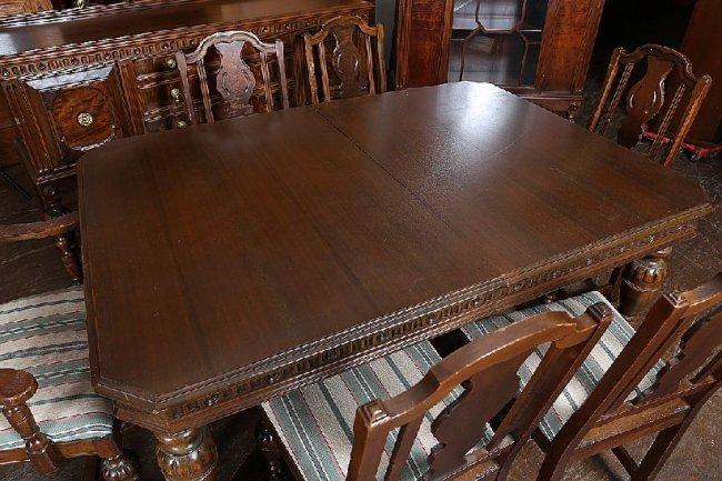 jacobean dining room set   57: 9 Piece Jacobean Walnut Dining Room Set : Lot 57