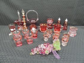 Etched Cranberry Glass, Shot Glasses, Baskets, Cream, S