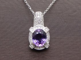 14k White Gold 3.22ct Purple Sapphire .40cttw Diamond