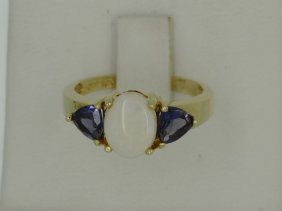 10k Yellow Gold .90ct Opal .40cttw Iolite Ring Size 7