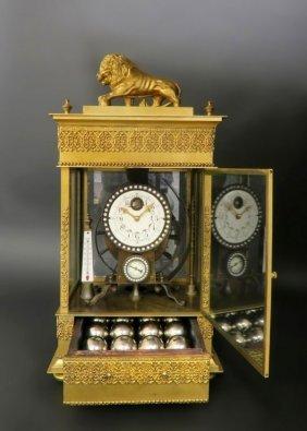 Large French Gilt Bronze Mechanical Falling Ball Clock