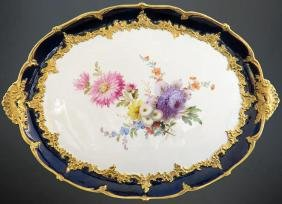 19th Hand Painted Meissen Porcelain Tray