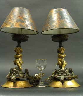 19th C. Guilt Bronze Candle Lamps