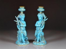 Pair Of Turquoise French Sevres Candlesticks Figures