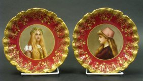 Pair Of Hand Painted Sevres Style Portrait Plates