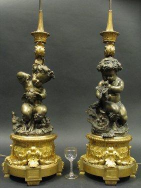 Large 19th C. Pair Candelabra/lamps Attr. Henri Picard