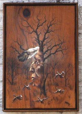 J. Shipley American Indian Painting On Wood Circa 1970