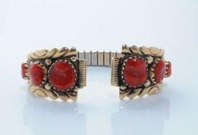 Robert Leekya Ox Blood Coral 14kt Gold Watchband