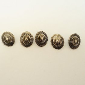 Lot Of Vintage American Indian Silver Concho Buttons