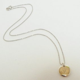 """Tiffany & Co. """"f"""" Round Initial Sterling Silver Pendant"""