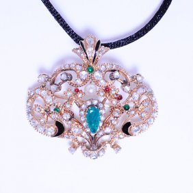 Exquisite Victorian Diamond & Enamel Pendant / Brooch