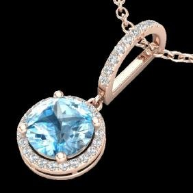 2.75 CTW Sky Blue Topaz & Micro Pave VS/SI Diamond