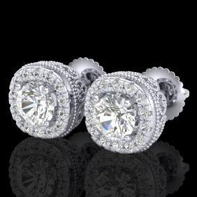 1.69 CTW VS/SI Diamond Solitaire Art Deco Stud Earring