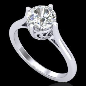 1.25 CTW VS/SI Diamond Solitaire Art Deco Ring 18K Gold