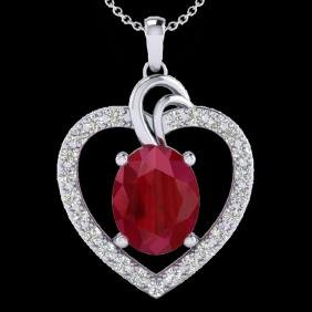 4 CTW Ruby & VS/SI Diamond Certified Designer Heart