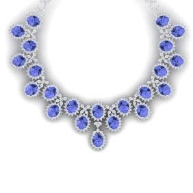 86 CTW Royalty Tanzanite & VS Diamond Necklace 18K Gold