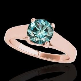 1 CTW Si Certified Fancy Blue Diamond Solitaire Ring