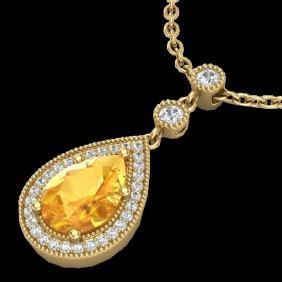 2.25 CTW Citrine & Micro Pave VS/SI Diamond Certified