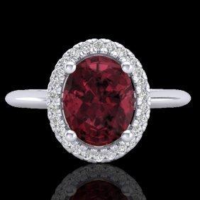 Natural 1.75 Ctw Garnet & Micro Pave Diamond Bridal