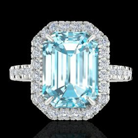 Natural 63 Ctw Sky Blue Topaz & Micro Pave Diamond
