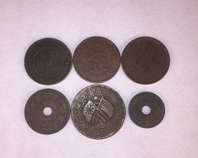 Six Chinese Copper Coins Qing Dynasty And Republic