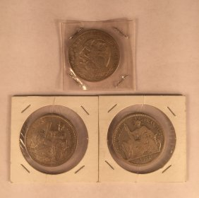 Three Spanish Silver Dollar Coins With Chinese Chops