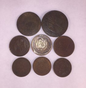 Eight Chinese Copper Cpins Qing Dynasty And Republic