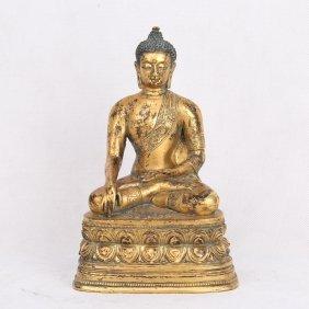 Chinese Gilt Bronze Seated Shakyamuni Buddha