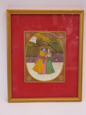 Vintage Watercolor Indian Migual Painting
