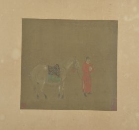 Chinese Painting Of Horse And Man On Silk