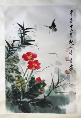 Chinese Scroll Paintingn Of Flower And Butterfly