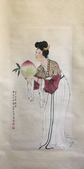 Chinese Scroll Painting Of A Lady With Peach