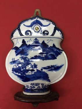 Chinese Export Porcelain B/w Wall Hanged Vase