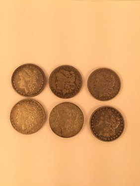 Six Us Silver Dollar Coins