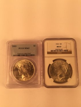 Two Ngc Sealed Us Silver Dollar Coins