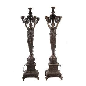 Pair cast bronze figural torcheres