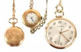Two Gold Pocket Watches & A Vintage Wrist Watch