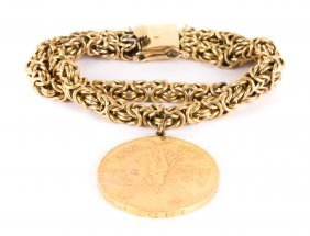 A Lady's Bracelet With 50 Pesos Gold Coin