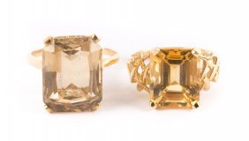 A Pair Of Lady's Gold Citrine Rings