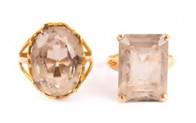 A Pair Of Lady's Gold Quartz Rings