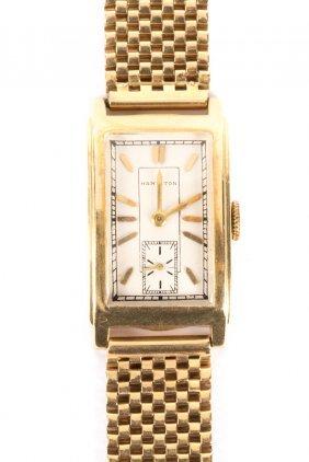 A Gent's Gold Hamilton Wrist Watch