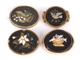A Collection Of Micromosaic And Pietra Dura Pins