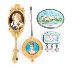 A Collection Of Hand Painted Enamels