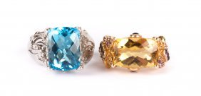 A Lady's Blue Topaz And Citrine Rings